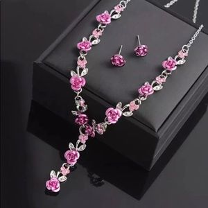 NWT Pink Rose Flower Necklace & Earring Set
